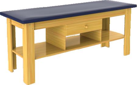 fisioterapia carci divã em madeira com gaveta